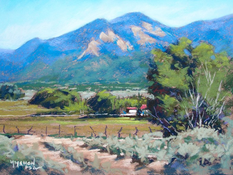Landscape pastel of Taos Mountain