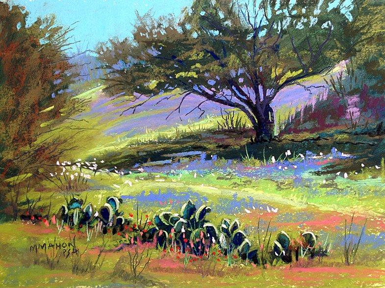 Hill Country Sparkle, Pastel Landscape workshops by Mike Mahon