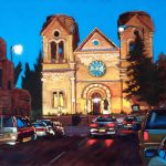 Oil painting of St Francis Cathedral Santa Fe, NM
