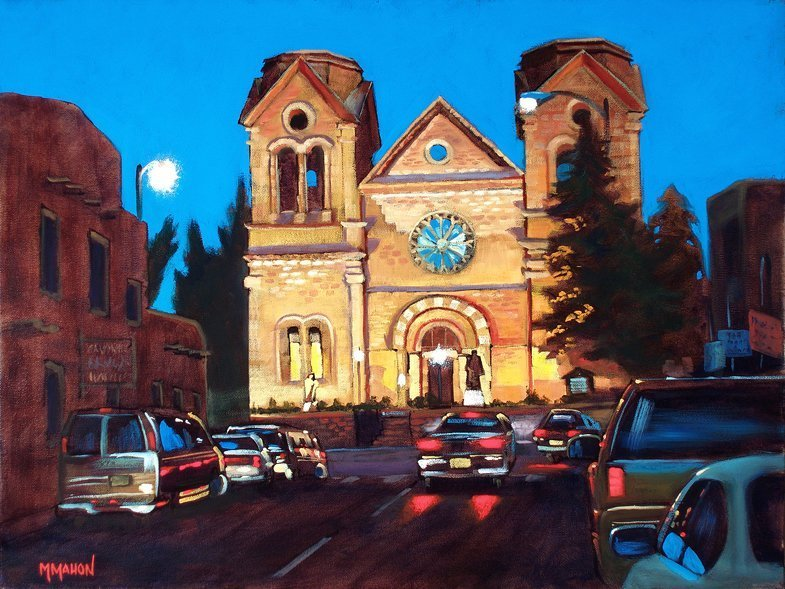 St Francis Cathedral, Oil painting by Mike Mahon