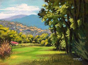High Road Meadow Landscape Pastel