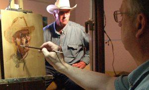 Mike Mahon paints oil portrait