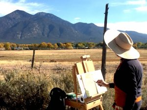 Painting the Taos mountains in a Mike Mahon workshop