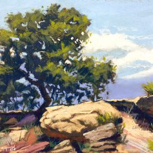 Pastel Painting of Lone tree