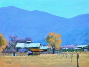 Taos Tranquil-landscape-Pastel-18x24 by Mike Mahon
