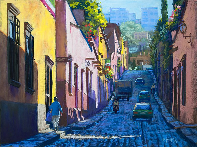 Pastel cityscape by Mike Mahon Timeless San Miguel